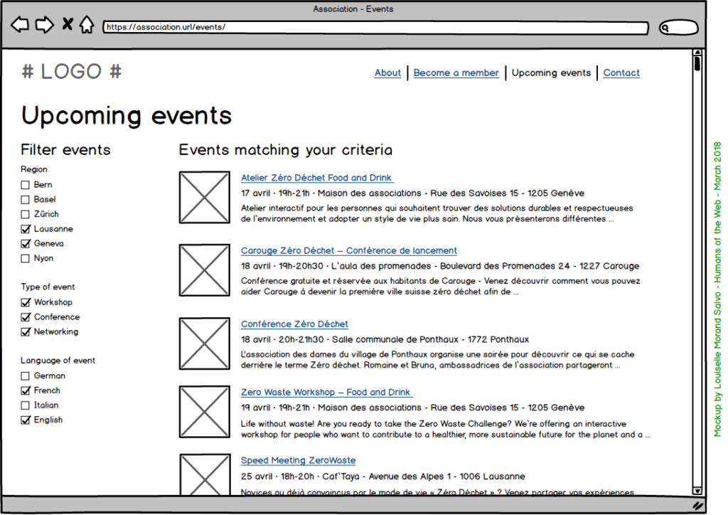 Mockup by Louiselle Morand Salvo for an events page. Events are displayed as a list for a better lisibility.