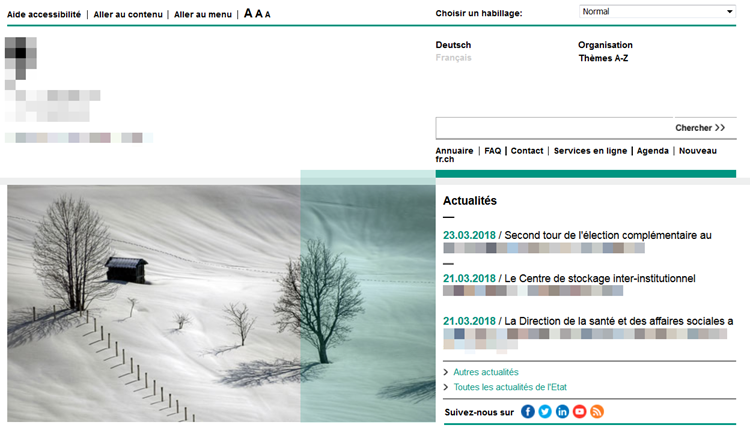 A screenshot of a homepage in French