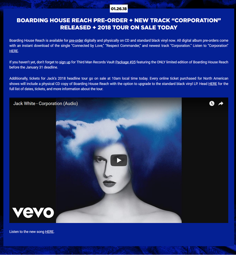 Screenshot of a news on Jack White's website