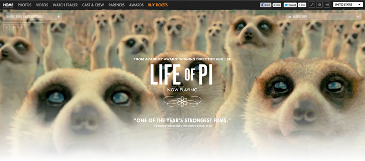 A screenshot of Life of Pi homepage