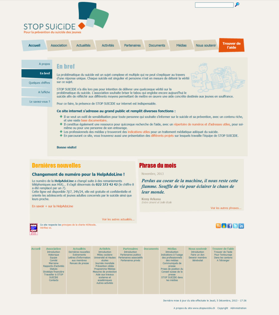 Screenshot of the new homepage of StopSuicide.ch