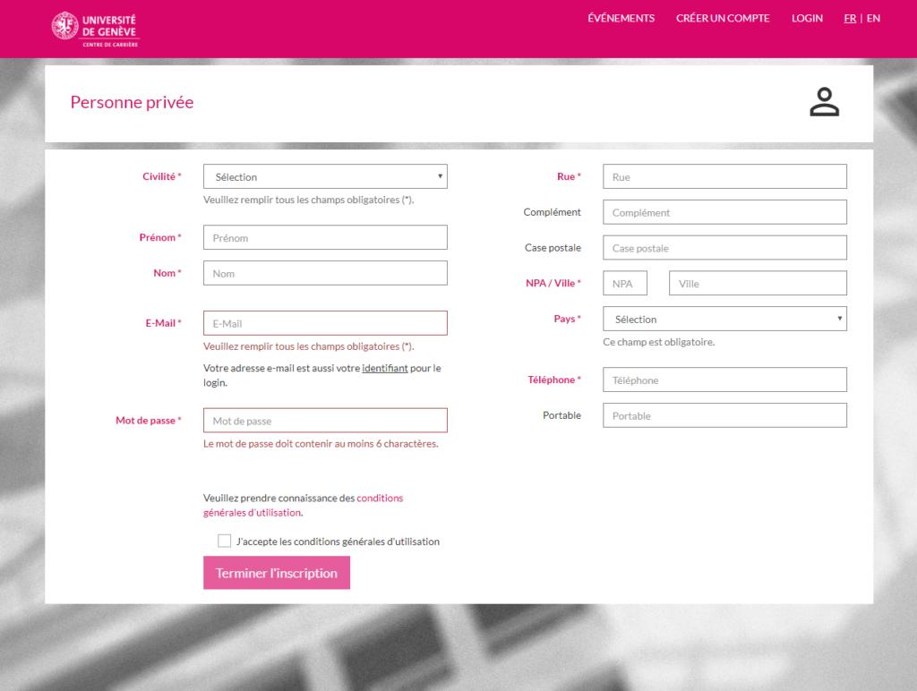 Screenshot of the registration form to the job portal